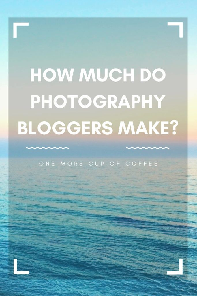 """image of water and horizon with photograph lens graphic overlay and text """"how much do photography bloggers make?"""""""
