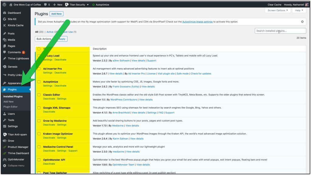 installed plugins screenshot