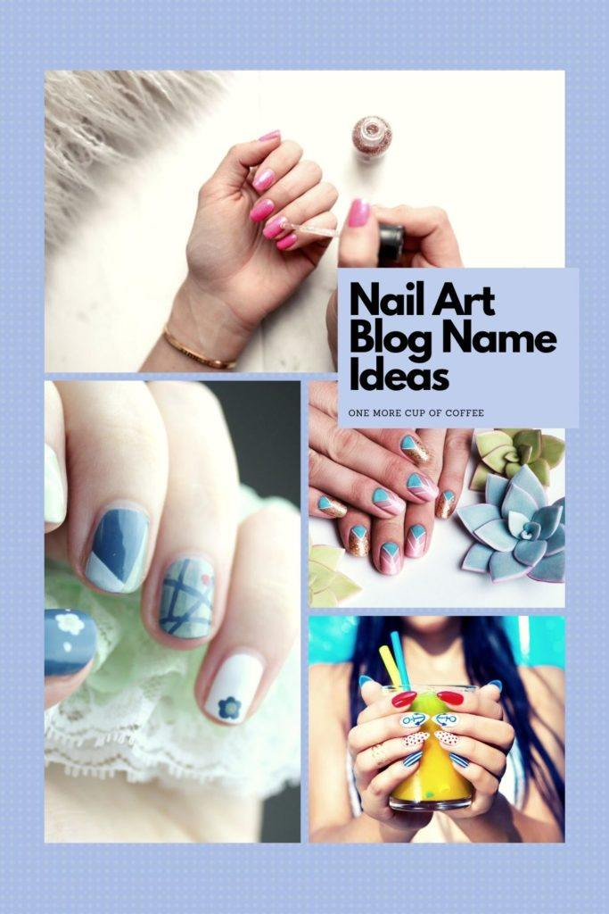 5 different images in collage showing types of nail art with text title