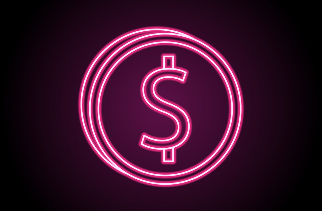 neon coin with dollar sign