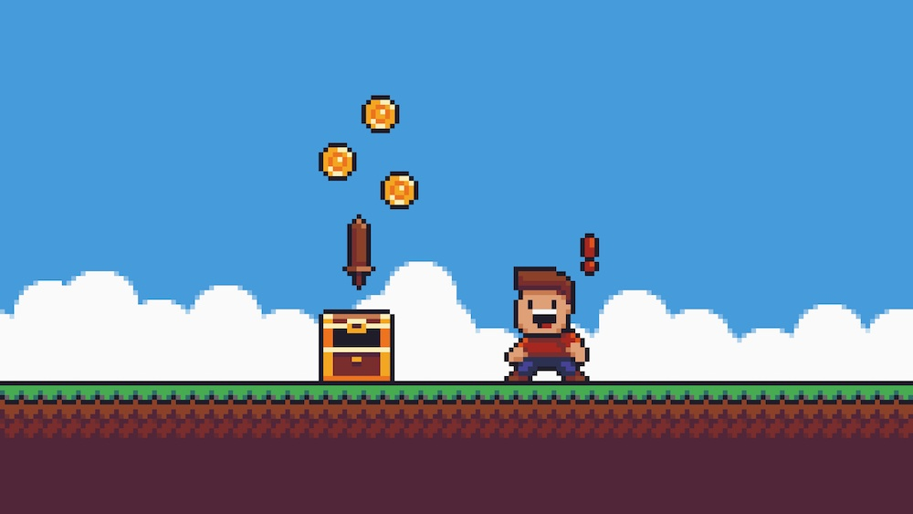 retro video game with treasure chest and coins to represent video game bloggers making money