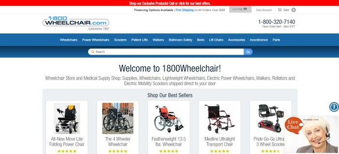 This screenshot of the home page for 1800Wheelchair.com has a red and white header, a blue navigation bar, and a white and gray background with a central section welcoming visitors and displaying small photos of a selection of bestselling wheelchair options.