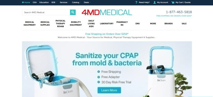 This screenshot of the home page for 4MDMedical has a white background and navigation bar with red and aqua-colored elements, above a photo of a CPAP sanitizing system behind aqua-colored text that describes it and a 'learn more' button in aqua.