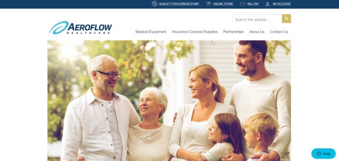 This screenshot of the home page for AeroFlow Healthcare has a white navigation bar and background above and around a large photo of a set of parents with a boy and girl, facing and talking to an elderly couple outside a white home with trees around it.