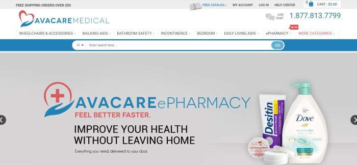 This screenshot of the home page for AvaCare Medical has a gray header, a white navigation bar, a blue search bar, and a gray main section with text in blue, black, and red announcing the AvaCare ePharmacy, along with a photo of personal care items that could be purchased in a drug store.