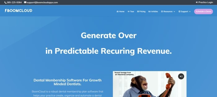 This screenshot of the home page for BoomCloud has a black header, a blue background, white text inviting dentists to get BoomCloud and increase their revenue, and a still shot of a chimpanzee in business clothes holding a phone in the lower right corner of the screen.