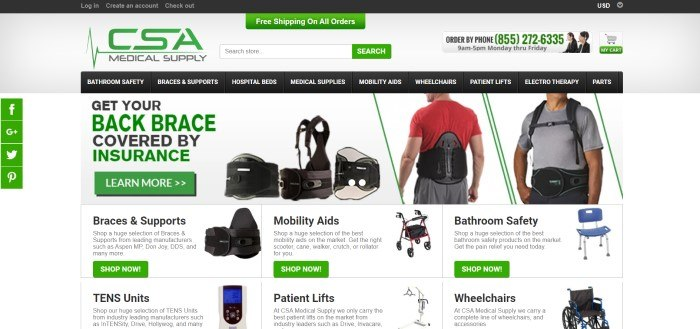 This screenshot of the home page for CSA Medical Supply has a gray background, green elements (including search and call to action buttons), a black navigation bar, an advertisement for getting back braces covered by insurance, and photos of a selection of some of the products sold through this store.