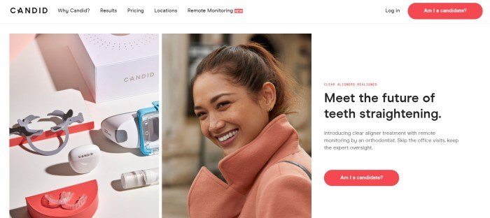 This screenshot of the home page for Candid has a white navigation bar above a photo on the left showing Candid equipment, a center photo showing a smiling brunette woman with perfect teeth, and a text section on the right describing clear aligner treatment, along with a red call-to-action button.