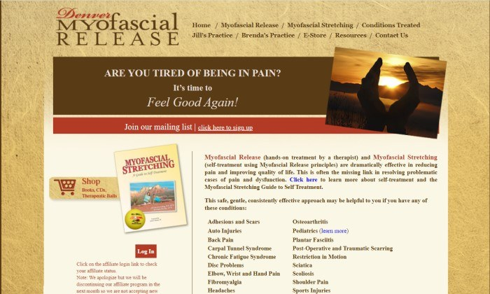 This screenshot of the home page for Denver Myofascial Release has a gold background with a transparent navigation bar above a main section with a brown header, a red announcement bar, an invitation on the left to read the Myofascial Stretching book, and a text section on the right describing Myofascial Release and the conditions it can treat.