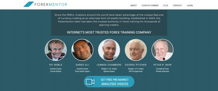 This screenshot of the home page for ForexMentor has a white header and navigation bar above a dark teal background with a row of circle headshots of people who work at ForexMentor, beneath white text announcing ForexMentor and above a blue call to action button.