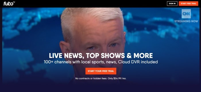 This screenshot of the home page for Fubo TV has a black header above a photo of a blonde news reporter in front of blue background, along with white text and an orange call to action button.