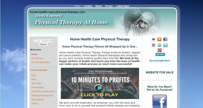 This screenshot of the home page for Home Health Physical Therapy has a blue sky background along with a main section with a blue navigation bar, a teal header section with a black and white photo of an aging couple, and black text describing home physical therapy options, with a video play box inserted in the center.