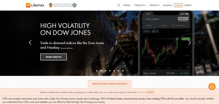 This screenshot of the home page for Libertex has a white navigation bar above a dark filtered photo showing a statue of a bull and a Dow Jones reading on a mobile device, next to white wording announcing high market volatility and a white call to action button.