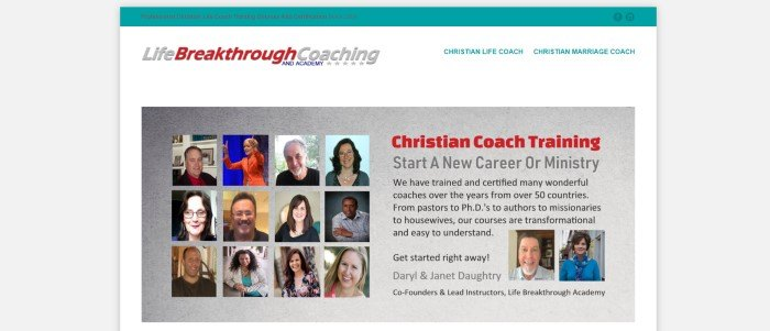 This screenshot of the home page for Life Breakthrough Coaching has a teal header, a white navigation bar with teal lettering, and a gray main section showing rows of small photos of professional coaches on the left and text in black and red on the right describing what the company is about.