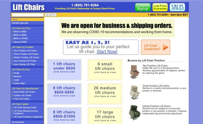 This screenshot of the home page for Lift Chairs has a blue background with yellow elements, a blue side menu with white text, and a white main section showing a column of blue text windows, a column of yellow text windows, and a column of black text with images of separate lift chairs for sale.
