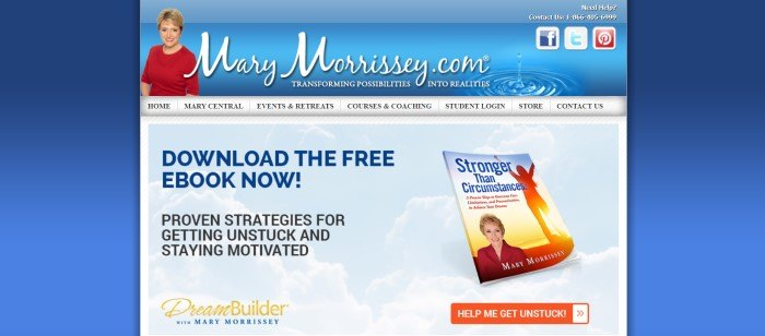 This screenshot of the home page for Mary Morrissey has a dark blue background, a blue header with white lettering and a photo of a smiling woman with short blonde hair and a red shirt, a gray navigation bar, and a main section with a blue-sky background and text in blue and black announcing an e-book, along with a photo of the book and an orange call to action button.