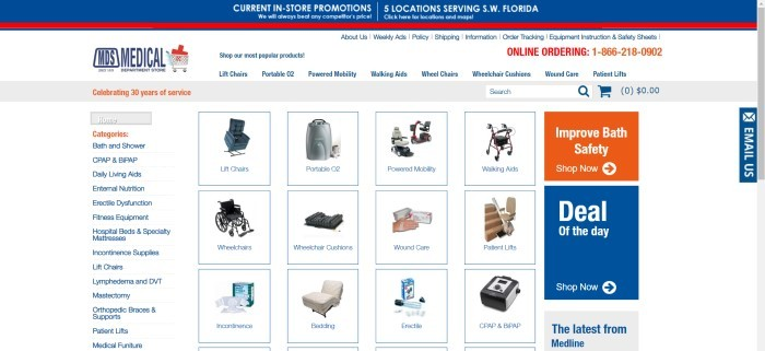 This screenshot of the home page for Medical Department Store has a blue and red elements on a white background, a white navigation bar and link section on the left, and several small photos showing searchable categories such as oxygen options, lift chairs, and CPAP machines.