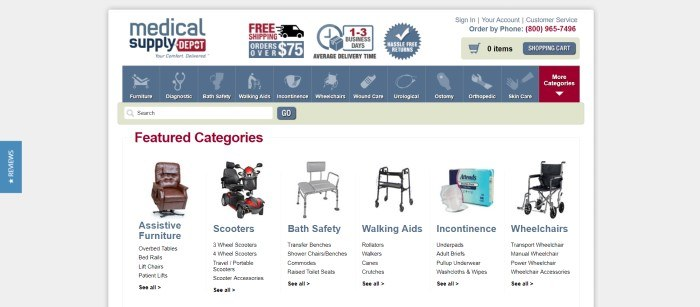 This screenshot of the home page for Medical Supply Depot has a gray background, a white central background with a blue navigation bar, and a selection of featured categories to shop from with small photos of sample products for each category.