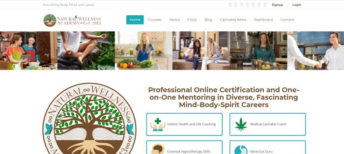 This screenshot of the home page for Natural Wellness Academy has a white header and navigation bar above a row of photos showing healthy lifestyles such as yoga and cooking with vegetables, above a white main section with a large logo and an invitation to get certified online in several areas, including as a holistic health and life coach.