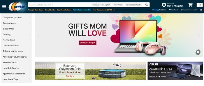 This screenshot of the home page for New Egg has a dark header with a white search bar above a gray background main section, with a category menu on the left side of the page and black text in the main section announcing gifts for Mom, including a photo of a laptop with a pink headset in front of a background of multicolored hearts, as well as a photo of a backyard with a child's scooter, a swimming pool on a green lawn, and a drone flying by a white picket fence.