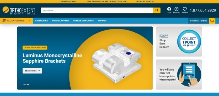 This screenshot of the home page for OrthoExtent has a yellow header, a dark blue search bar, and lighter blue navigation bar above a yellow and blue main section with a graphic showing a white monocrystalline sapphire bracket, along with a gray announcement for the rewards program along the right side of the page.