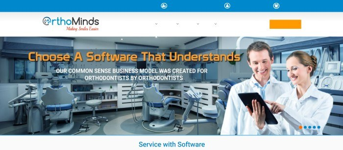 This screenshot of the home page for OrthoMinds has a blue header, a white section with the logo and an orange call to action button, and a photo showing a smiling man in a white lab coat, standing in an orthodontic treatment room, as he looks at a tablet being held by someone else.