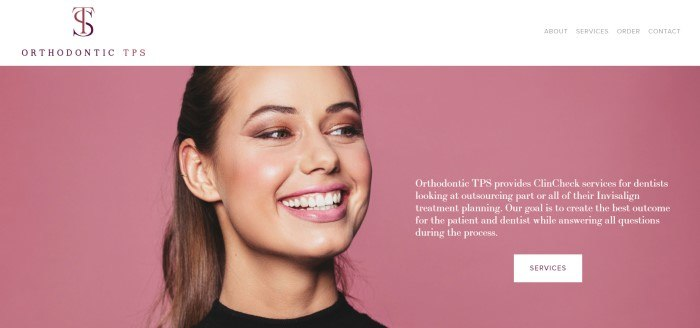 This screenshot of the home page for Orthodontic TPS has a white header and navigation bar above a photo of a smiling brunette woman with straight white teeth, who is positioned in front of a pink background, along with white text describing how Orthodontic TPS can help orthodontists manage their ClinCheck system.