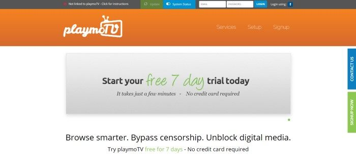 This screenshot of the home page for PlaymoTV has a gray and orange header with blue and green buttons above a white main section that contains a gray window with black and green text announcing a free trial period and black text on white on the lower edge of the image.