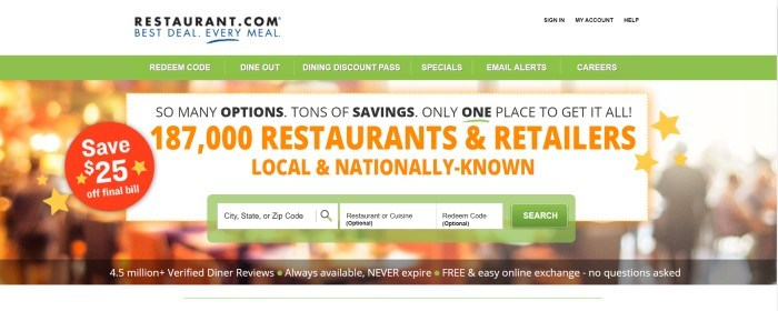 This screenshot of the home page for Restaurant.com has a white header, a green navigation bar, and a white text window with black and orange text laid over a blurry background of the inside of a restaurant, as well as a green search bar near the bottom of the image.