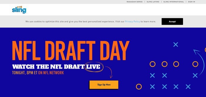 This screenshot of the home page for Sling has a white and gray header above a blue main section with orange and white text inviting customers to watch the NFL draft on Sling.