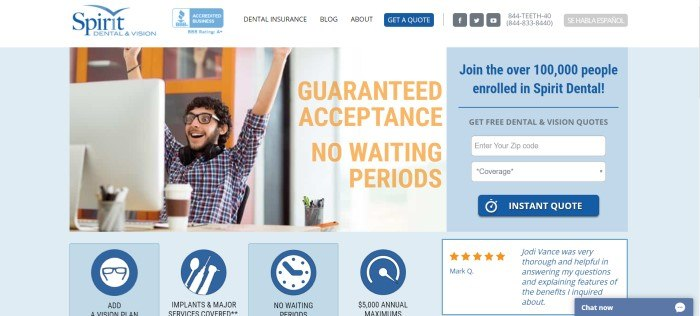 This screenshot of the home page for Spirit Dental And Vision has a white navigation bar above a photo of a young dark haired man wearing a plaid shirt, sitting in front of his computer screen with a smile on his face and his hands raised in a victory pose, next to orange text announcing guaranteed acceptance and no waiting periods, along with a blue and white search section on the right side of the page.