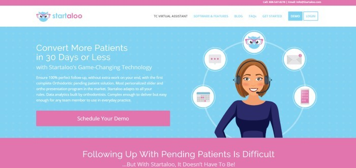 This screenshot of the home page for Startaloo has a pink bar at the top of the page, a white navigation bar with blue text, and a light blue main section with a graphic of a smiling brunette woman in a headset and blue shirt surrounded by icons representing different aspects of managing patient conversion, along with white text describing Startaloo, a pink call to action button, and a pink section at the bottom of the page with more information on patient followup.