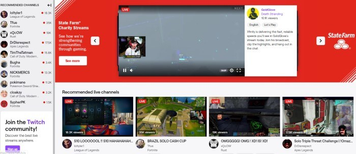 This screenshot of the home page for Twitch has a light background with a sidebar of recommended channels, a main section for State Farm Charity Streams, including a screen of someone who is streaming live, above a row of four smaller images of games that were also streaming live.