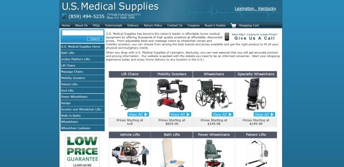 This screenshot of the home page for U.S. Medical Supplies has a blue background, a dark blue header and navigation bar, a dark blue search bar and links on the left, and a white text box in the center and right that includes black text and photos of a selection of wheelchairs and lifts.