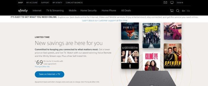 This screenshot of the home page for Xfinity has a black navigation bar with white text above a whtie information bar and a beige main section that contains a black text window announcing savings on the left side of the page and images of movie covers on the right side of the page, along with a blue call to action button.