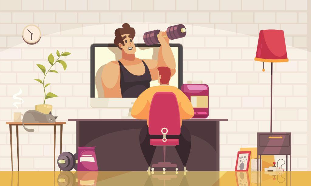 vector image of man watching fitness guru on YouTube