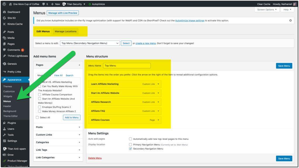 wordpress menu navigation
