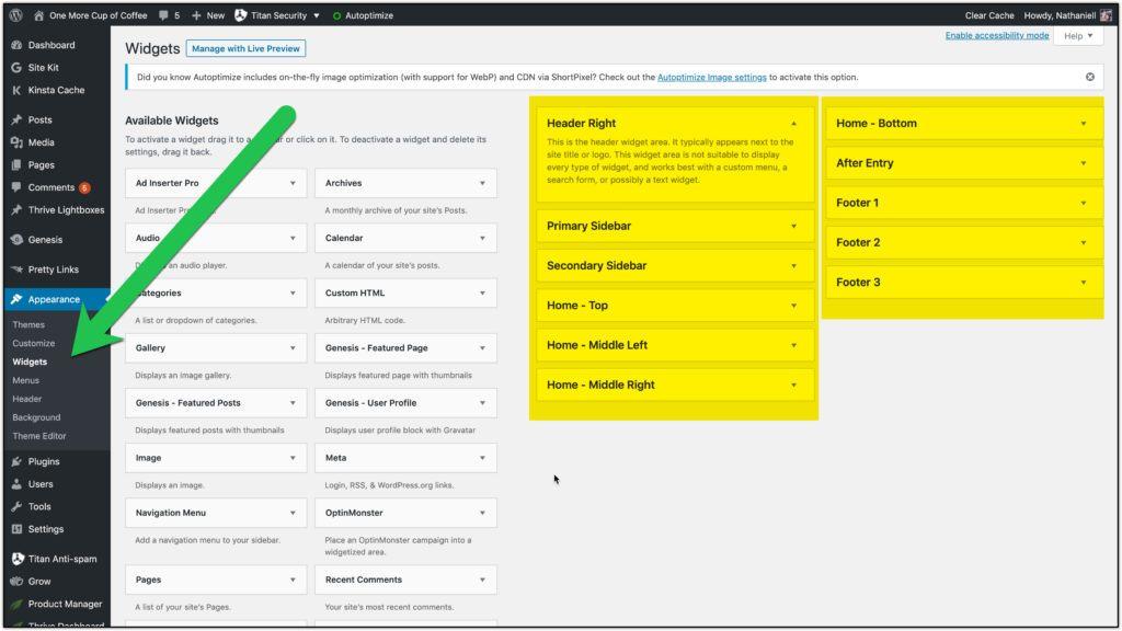 wordpress widget area options