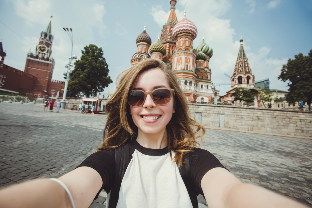 young woman facing camera in st. petersburg russia