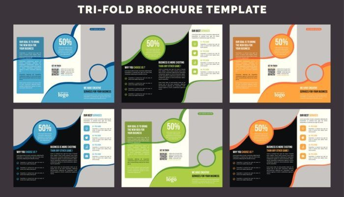 This image shows several templates of tri-fold brochures in blue, green, orange, white, and black on a black background, representing the best printing affiliate programs.