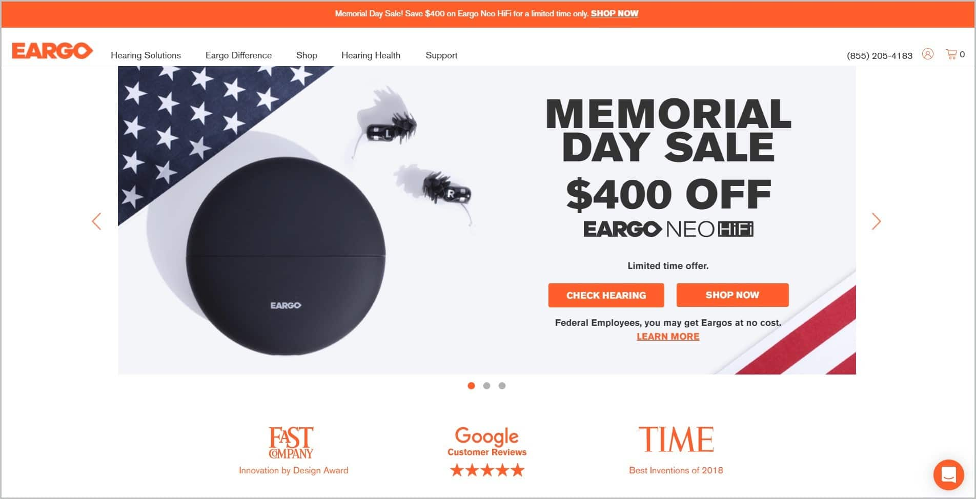 screenshot of Eargo homepage, with an orange announcement bar and white header with the website's name and main navigation menu, it showcases an image of their hearing aids