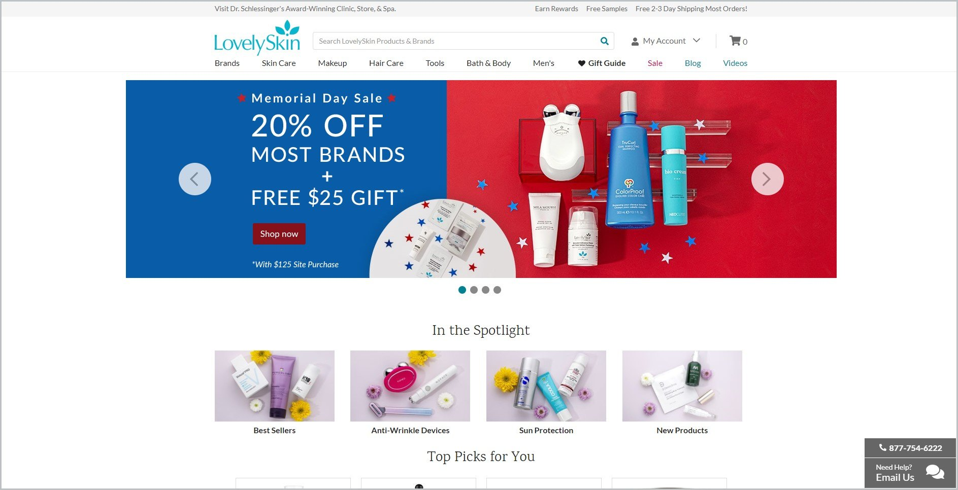 screenshot of LovelySkin homepage, with white header with the website's name and main navigation menu, it also features images of some of their products