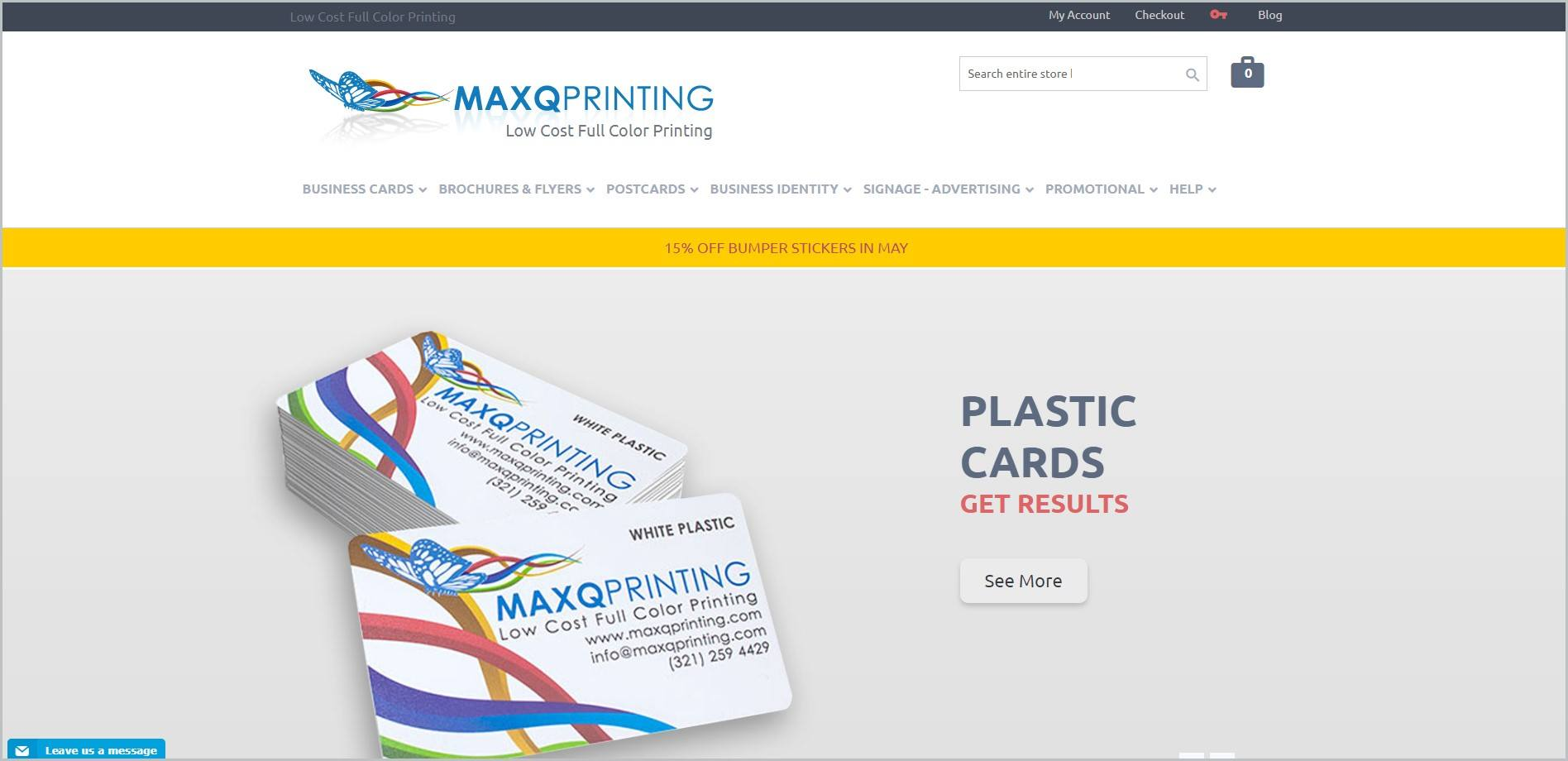 screenshot of Max Q Printing homepage with black announcement bar, white header with the website's name and main navigation menu, and featuring a pile of Max Q Printing business cards