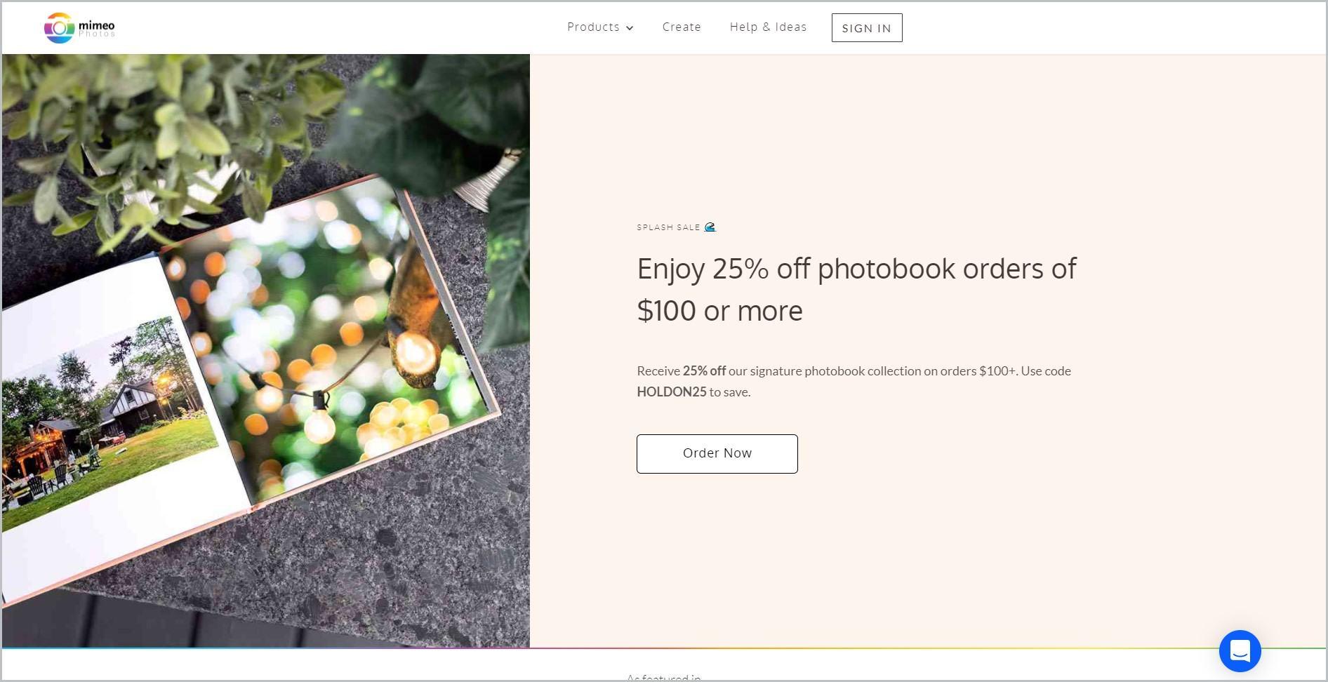 screenshot of Mimeo Photos homepage, with white header bearing the website's name and main navigation menu