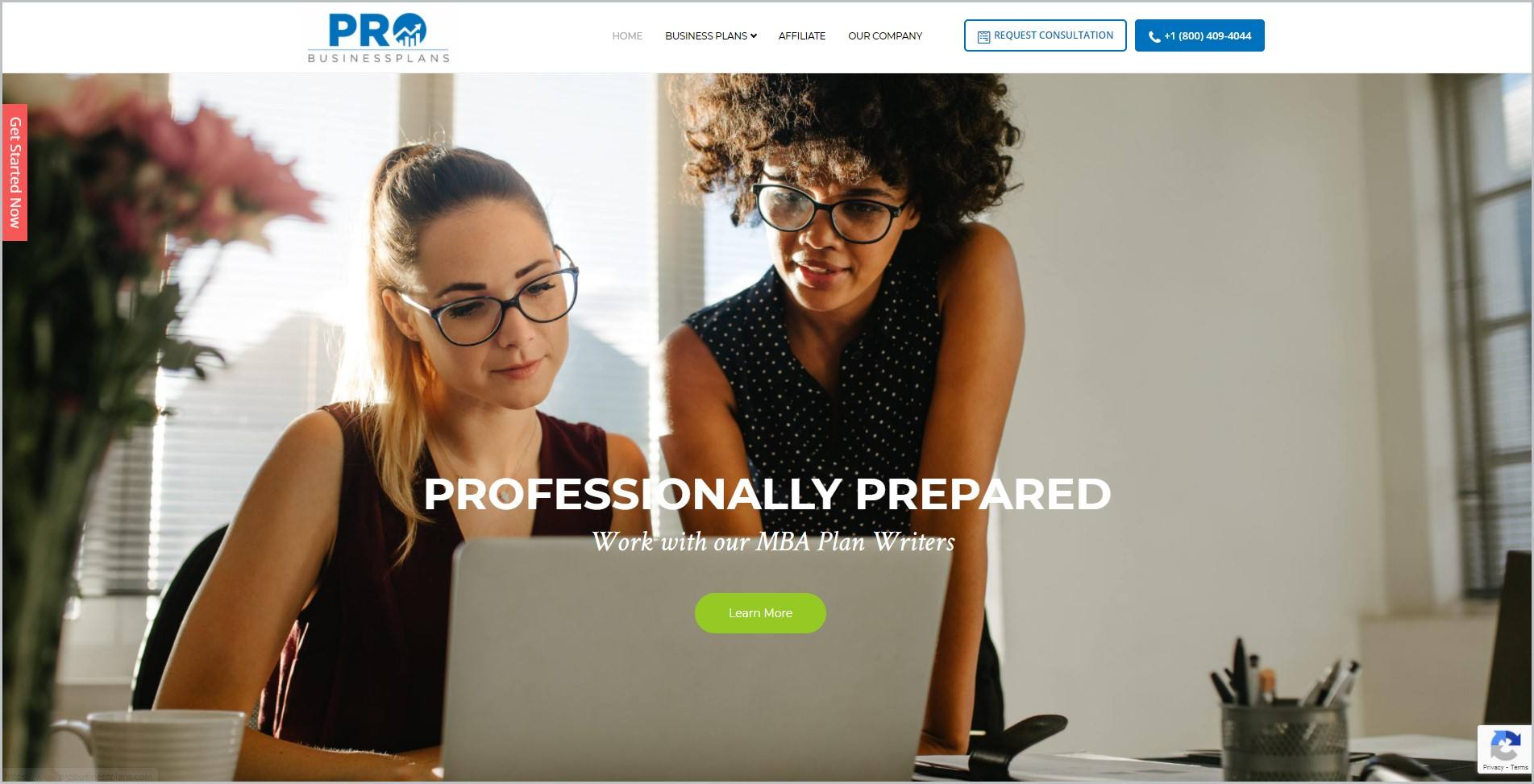 screenshot of Pro Business Plan homepage, with white header with the website's name and main navigation menu, it features an image of two women in an office set up in front of a laptop