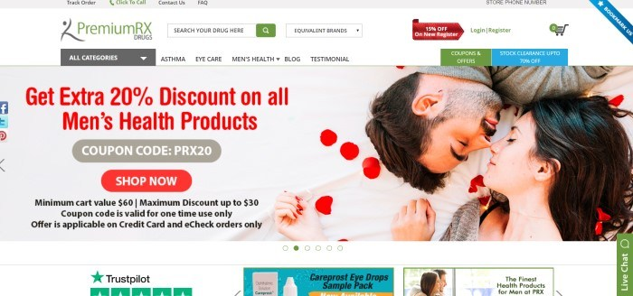 This screenshot of the home page for PremiumRXdrugs has a gray header, a white navigation bar, and a large photo of a dark-haired man and a dark-haired woman lying nose to nose on a white sheet sprinkled with red rose petals next to an advertisement in red and gray for men's health products.