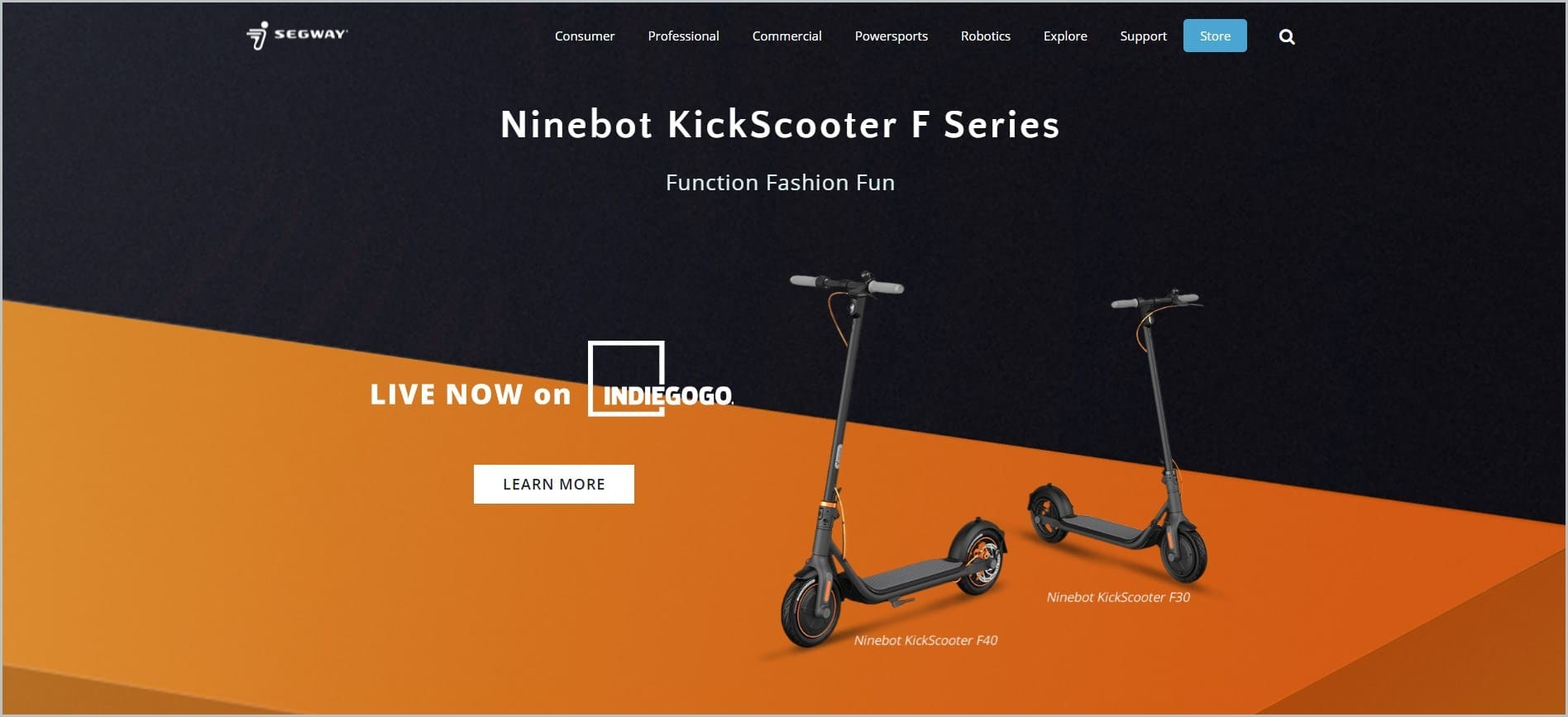 screenshot of Segway homepage, with black header with the website's name and main navigation menu, it features images of their Ninebot KickScooter F Series