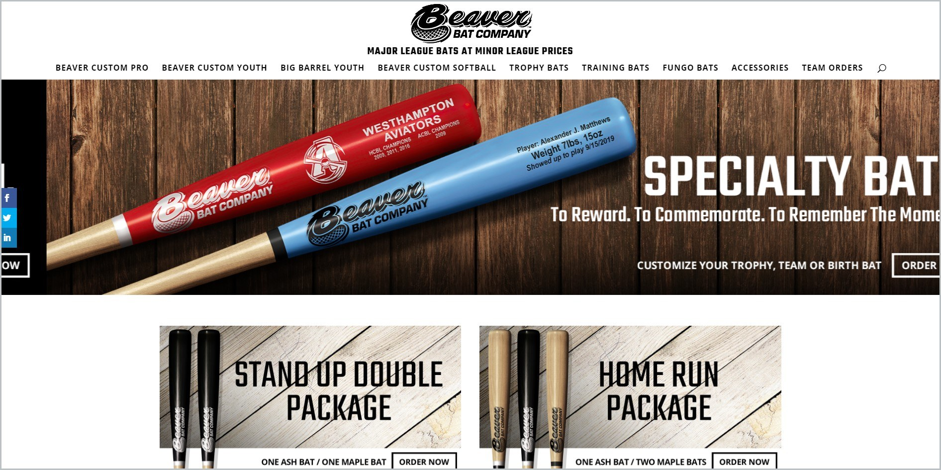screenshot of The Beaver Bat Company homepage with white header bearing the website's name and main navigation bar, it also features images of a couple of wooden bats