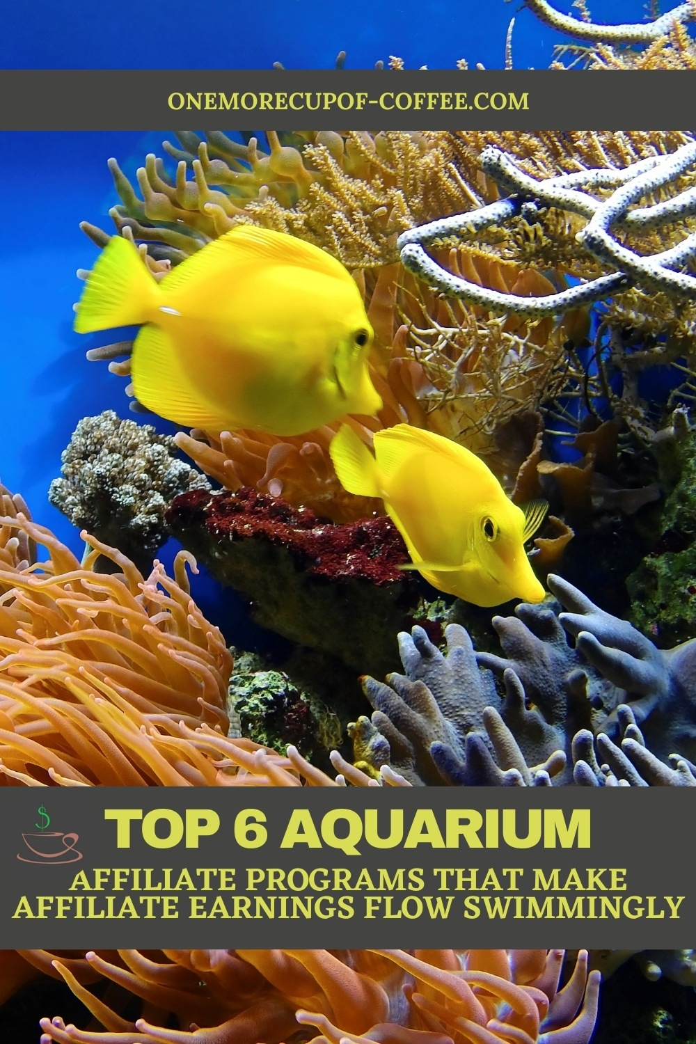 """closeup image of an aquarium with corals and a couple of yellow fish, with text overlay """"Top 6 Aquarium Affiliate Programs That Make Affiliate Earnings Flow Swimmingly"""""""