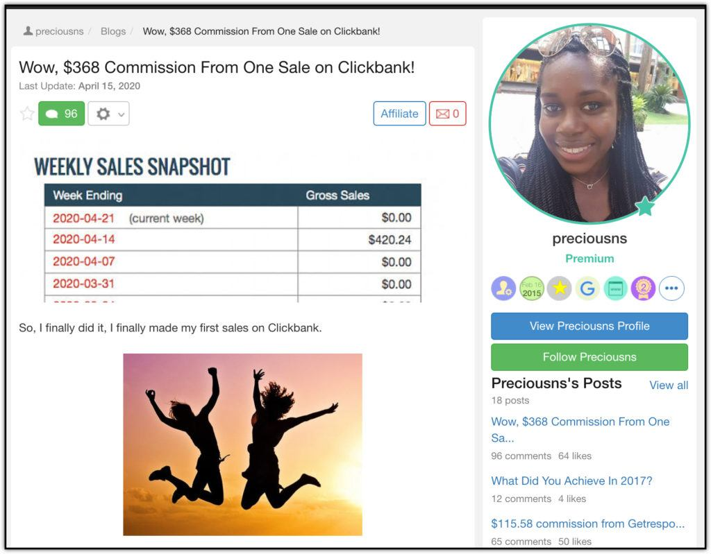 clickbank earnings 100